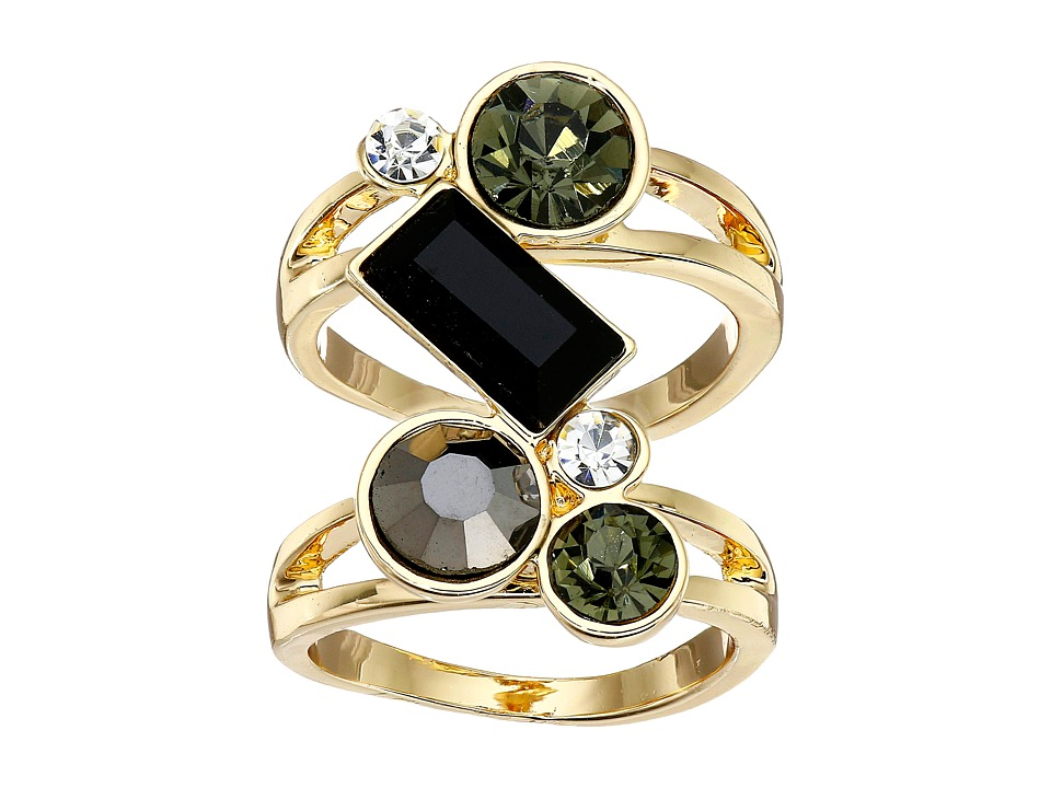 GUESS - Stone Cluster Knuckle Ring (Gold/Jet) Ring