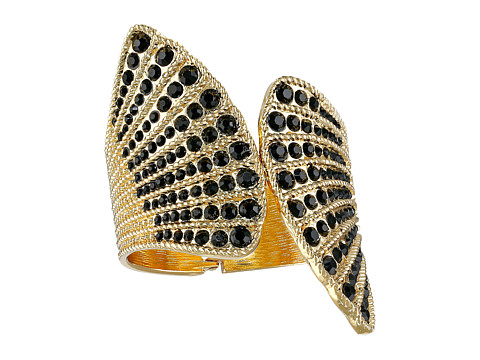 GUESS - Fan Hinged Cuff with Stone Bracelet (Gold/Jet) Bracelet