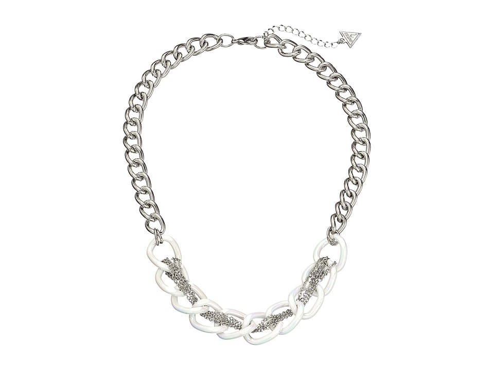 GUESS - Link Chain with Fine Chain Woven Through Necklace (Silver/White) Necklace