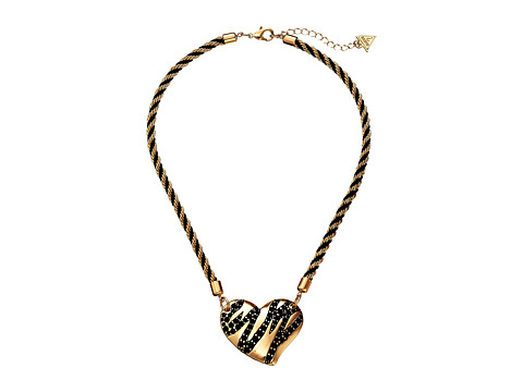 GUESS - Heart Neck On Twisted Cord Chain Necklace (Gold/Jet) Necklace