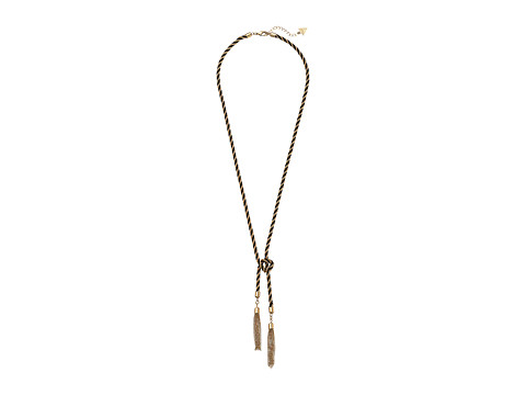 GUESS - Twisted Chain Knotted Lariat Necklace (Gold/Jet) Necklace