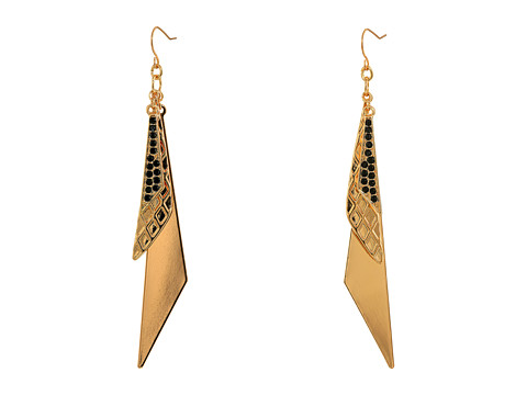 GUESS - Triple Triangle Drop Linear Earrings (Gold/Jet) Earring