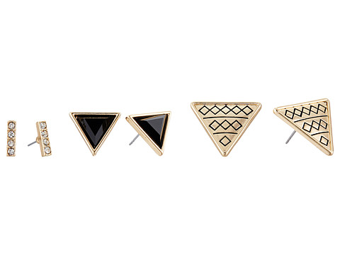 GUESS - Mini Stick and Triangle Button Trio Earrings Set (Gold/Jet/Crystal) Earring