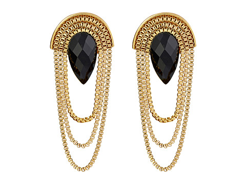 GUESS - Box Chain with Faceted Stone Earrings (Gold/Jet) Earring