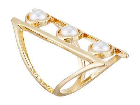 GUESS - Triple Pearl Open Band Ring (Gold/White Pearl) Ring
