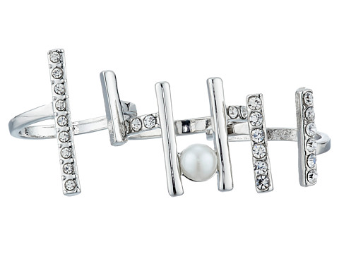 GUESS - Three Piece Open End Band Ring Set (Silver/White Pearl/Crystal) Ring