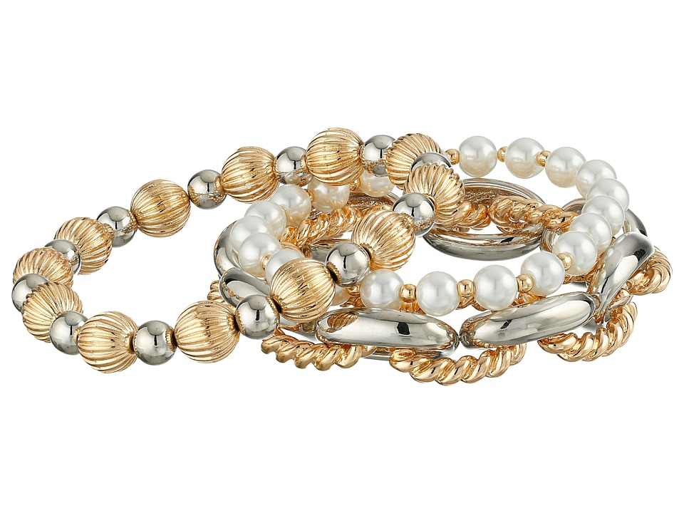 GUESS - Three Piece Stretch Bracelet Set (Gold/Silver/Pearl) Bracelet