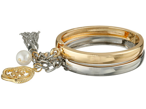 GUESS - Handcuff Style Bangle Set with Charms Bracelet (Gold/Silver/Pearl) Bracelet