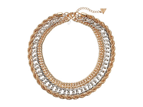 GUESS - Triple Chain Collar Necklace (Gold/Silver) Necklace