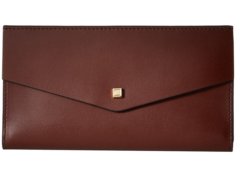 Lodis Accessories - Blair Unlined Amanda Continental Clutch (Chestnut/Cobalt) Clutch Handbags