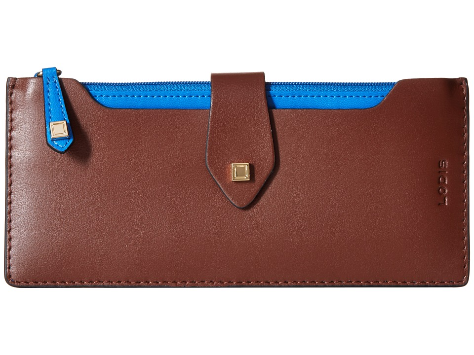 Lodis Accessories - Blair Unlined Sandy Multi Pouch Wallet (Chestnut/Cobalt) Wallet Handbags
