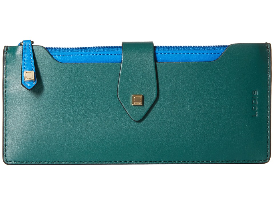 Lodis Accessories - Blair Unlined Sandy Multi Pouch Wallet (Green/Cobalt) Wallet Handbags