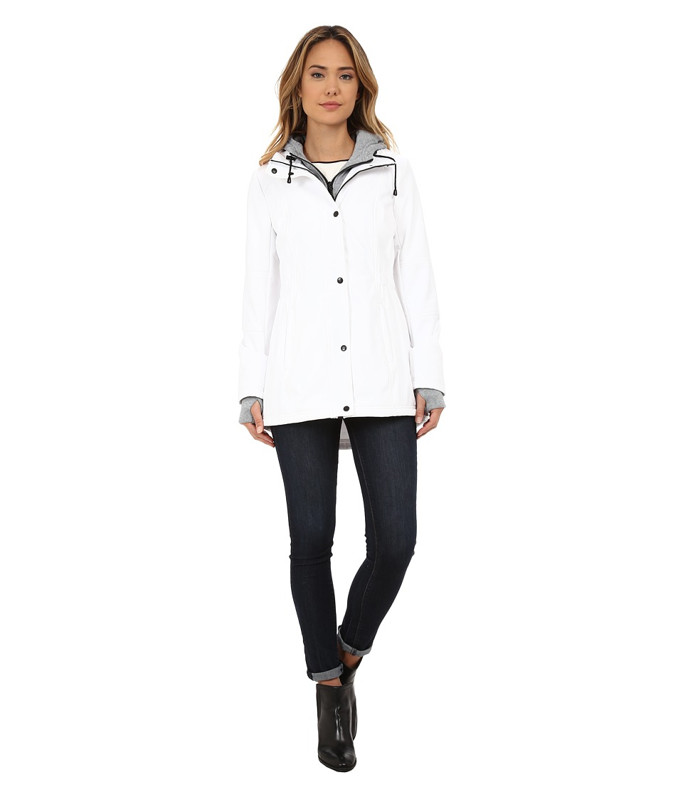 Jessica Simpson - Zip Front Soft Shell with Hoodie (White) Women's Sweatshirt