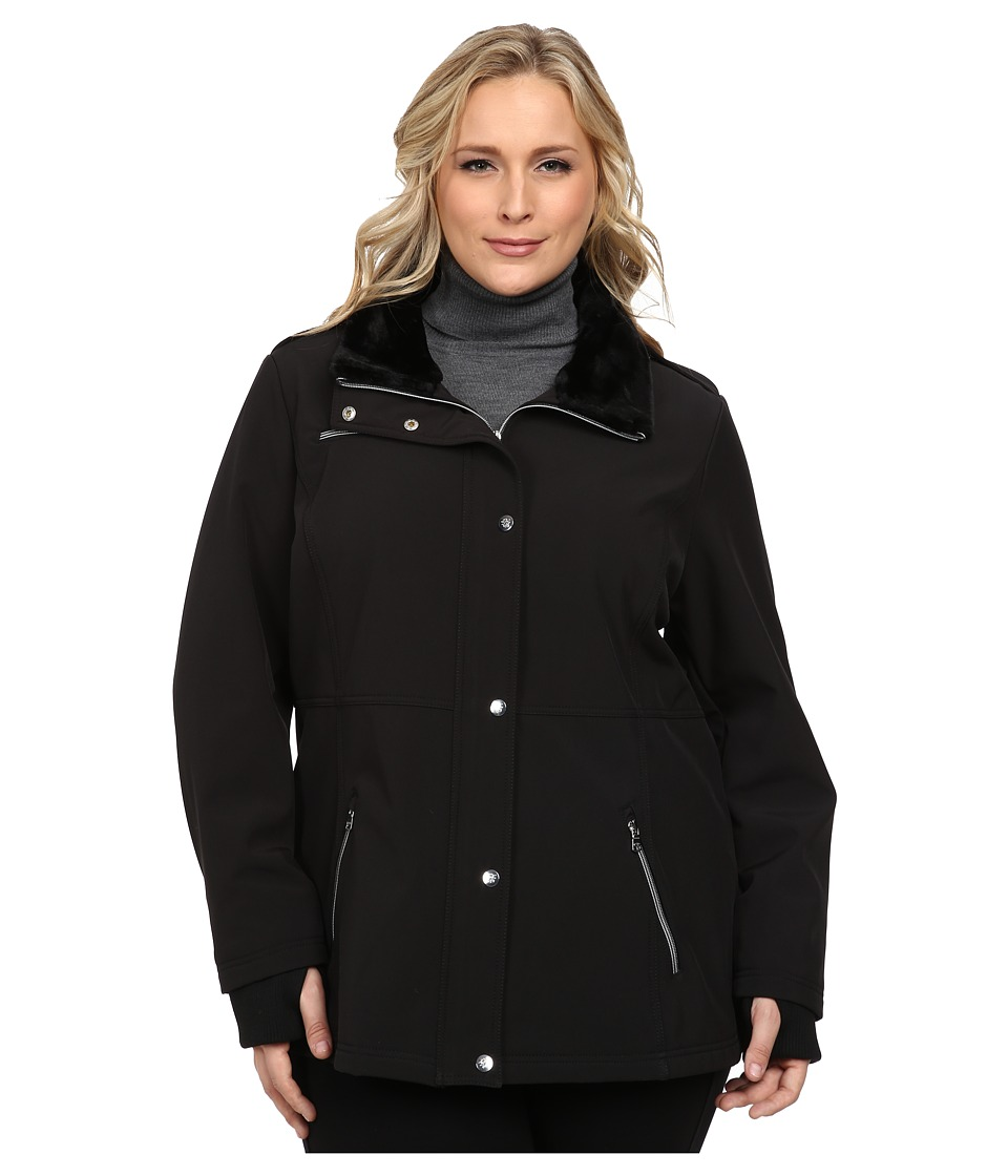 Jessica Simpson - Plus Size Zip Front Soft Shell with Faux Fur (Black) Women's Clothing