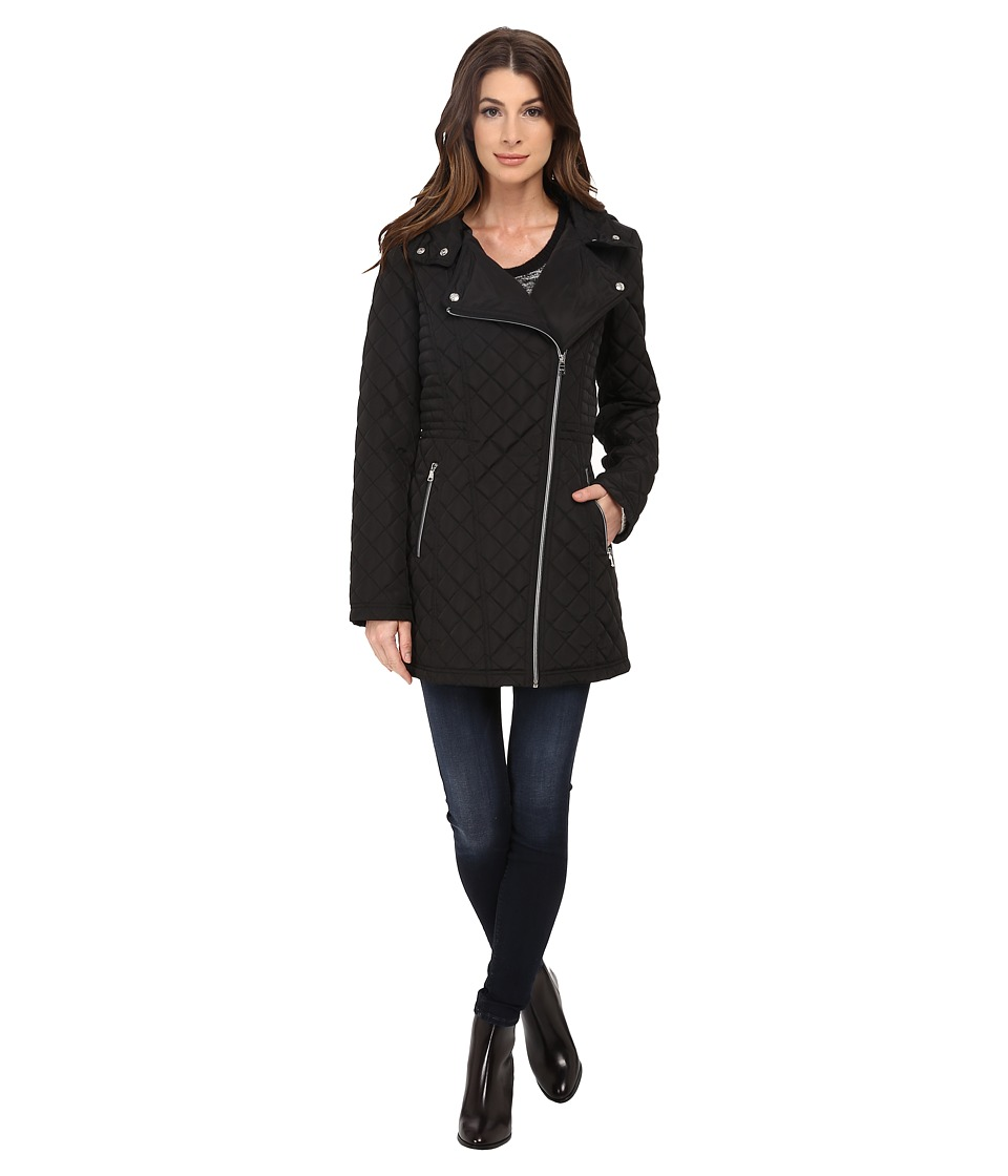 Jessica Simpson - Asymmetrical Zip Quilt with Hood (Black) Women's Clothing