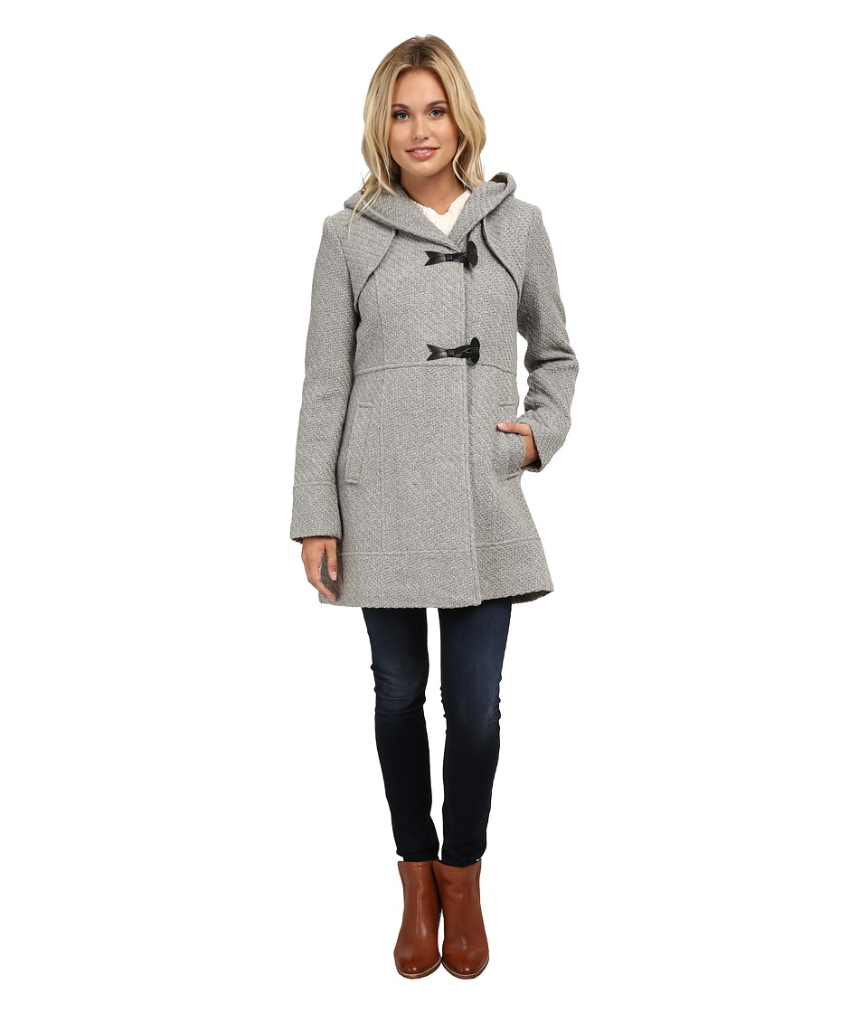 Jessica Simpson - Braided Wool Duffle Coat with Hood (Grey) Women's Coat