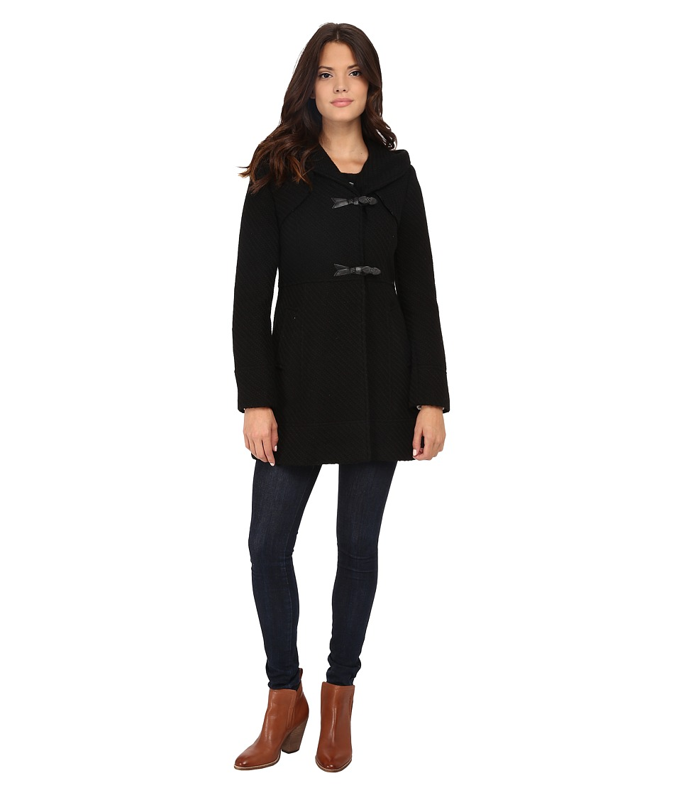 Jessica Simpson - Braided Wool Duffle Coat with Hood (Black) Women's Coat