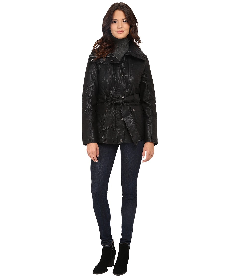 Jessica Simpson - Faux Leather Zip Front and Snap Quilt Belted Jacket (Black) Women's Coat