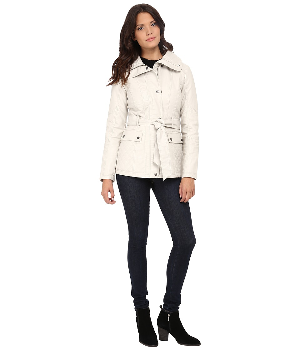 Jessica Simpson - Faux Leather Zip Front and Snap Quilt Belted Jacket (Stone) Women's Coat