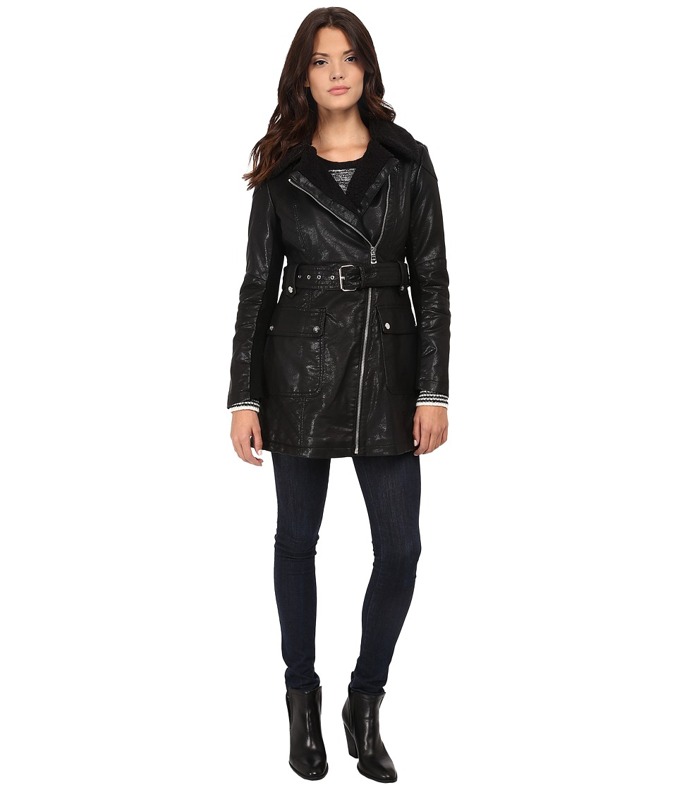 Jessica Simpson - Long Faux Leather Moto Jacket with Faux Shearling (Black) Women's Coat