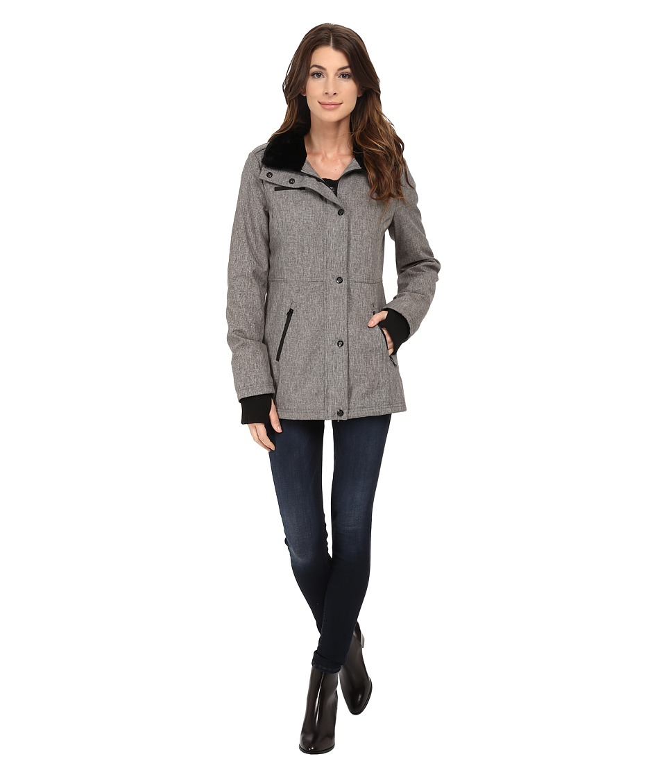 Jessica Simpson - Zip Front Soft Shell with Faux Fur (Heather Grey) Women's Clothing