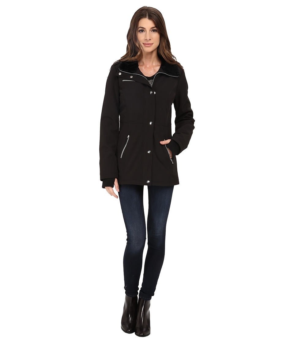 Jessica Simpson - Zip Front Soft Shell with Faux Fur (Black) Women's Clothing