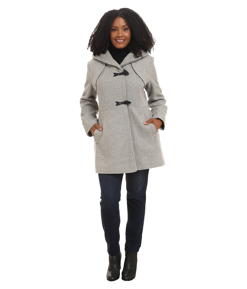 Jessica Simpson - Plus Size Braided Wool Duffle Coat (Grey) Women's Coat