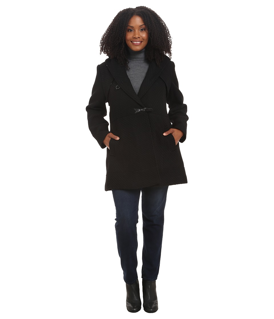 Jessica Simpson - Plus Size Braided Wool Duffle Coat (Black) Women's Coat plus size,  plus size fashion plus size appare