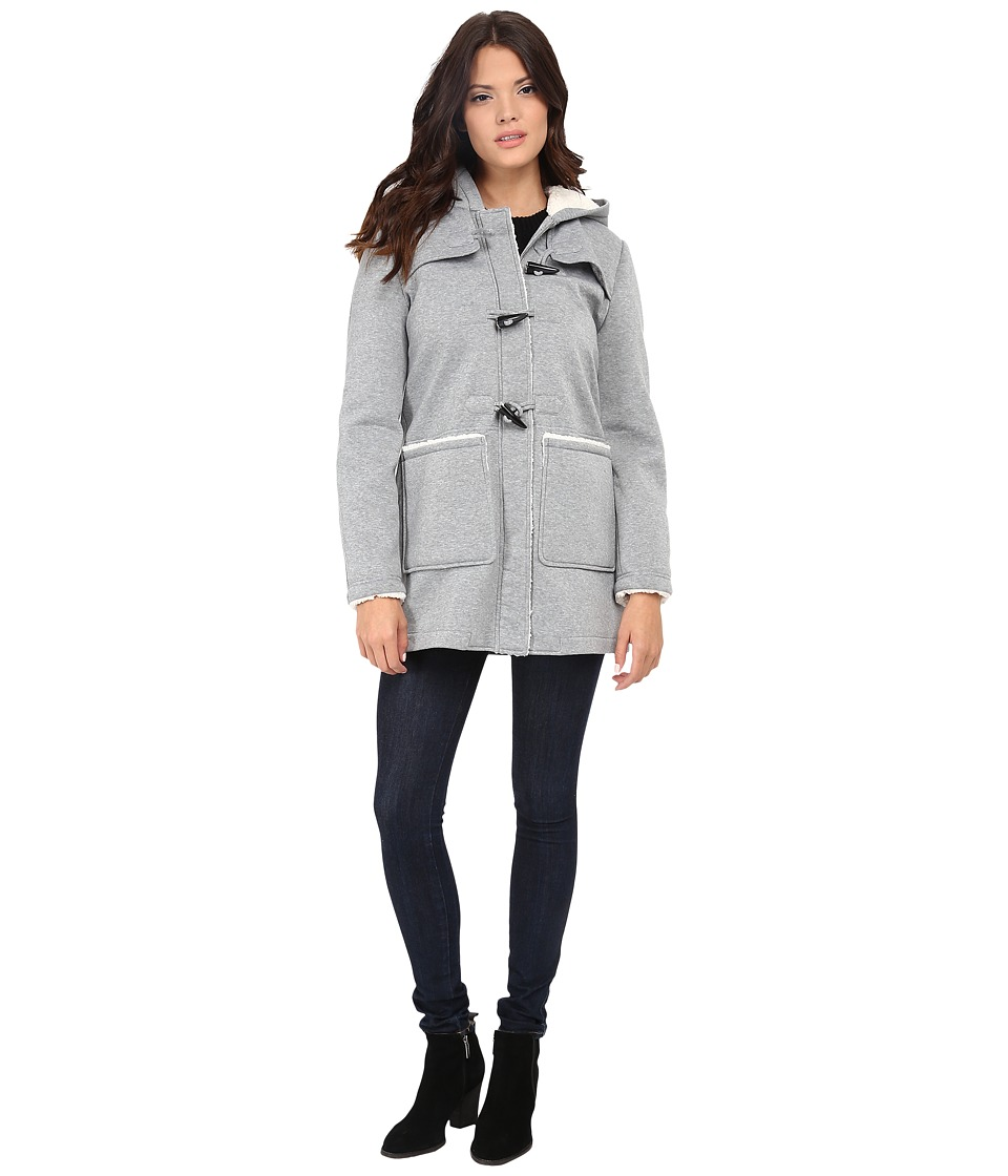 Jessica Simpson - Fleece Duffle Coat with Hood (Grey) Women's Coat