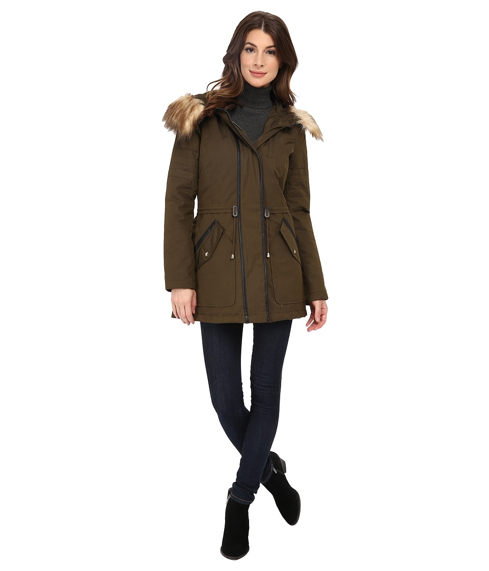Jessica Simpson - Anorak Parka with Faux Fur Trim (Military) Women's Coat