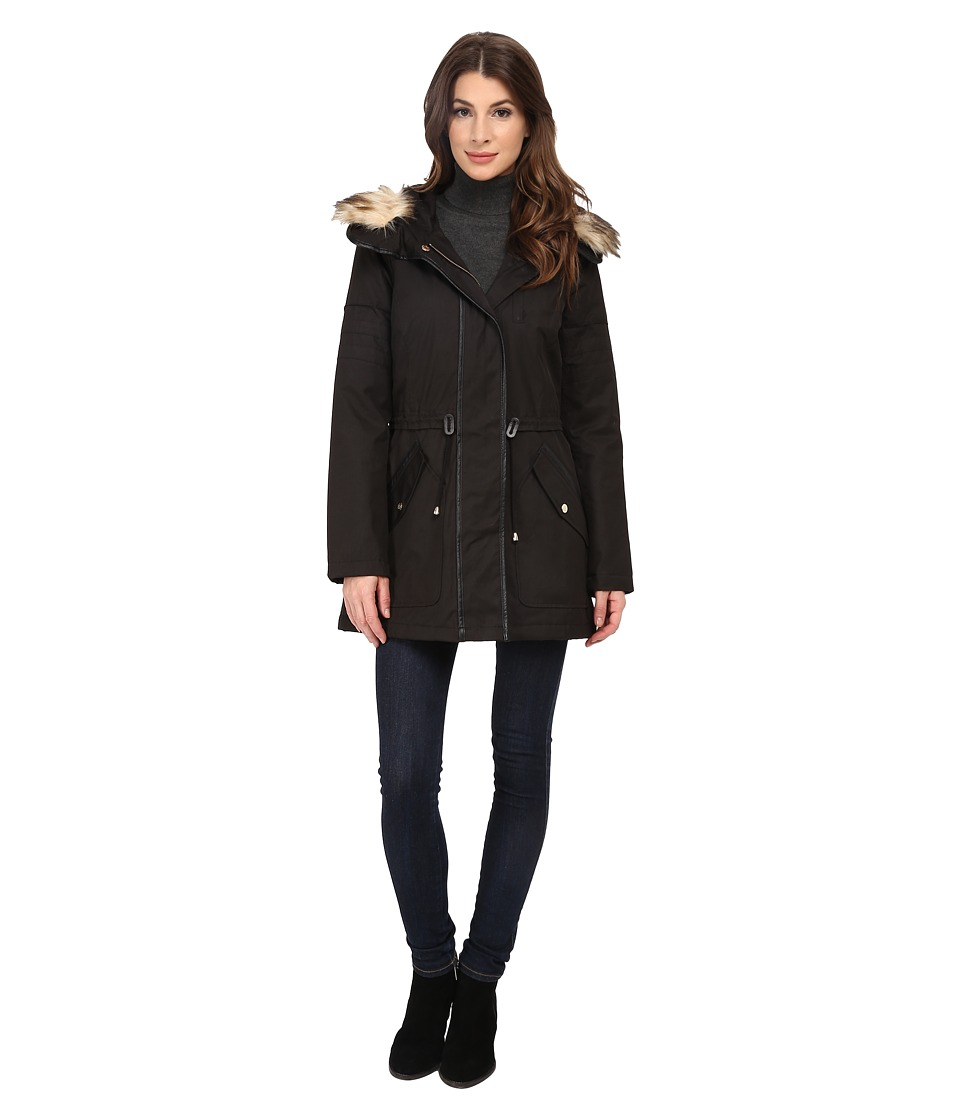 Jessica Simpson - Anorak Parka with Faux Fur Trim (Black) Women's Coat
