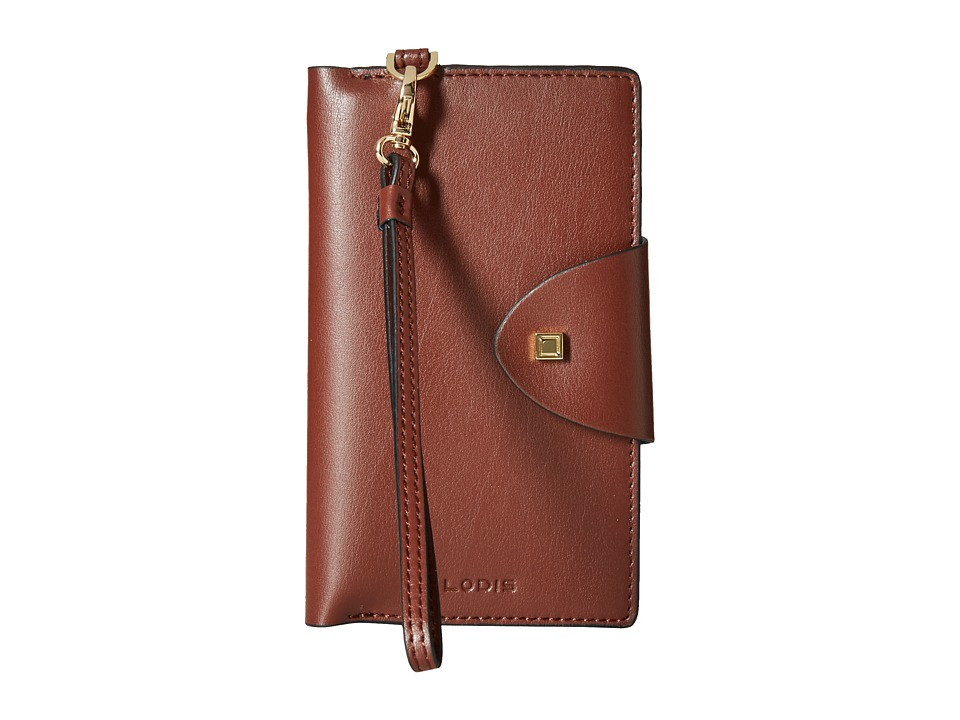Lodis Accessories - Blair Unlined Lynne Flap Cell Phone Card Case (Chestnut/Cobalt) Cell Phone Case