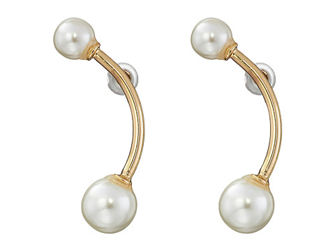 GUESS - Pearl Bar Bell Earrings (Gold/Pearl) Earring