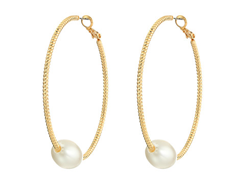 GUESS - Textured Hoop with Pearl Earrings (Gold/Pearl) Earring