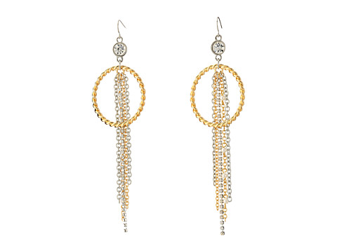 GUESS - Hoop On Wire with Chain Fringe Earrings (Gold/Silver/Pearl) Earring