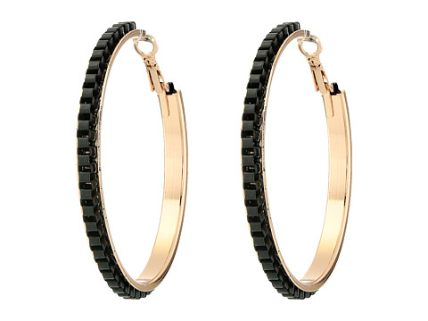 GUESS - Chain Wrapped Hoop Earrings (Rose Gold/Matte Jet) Earring