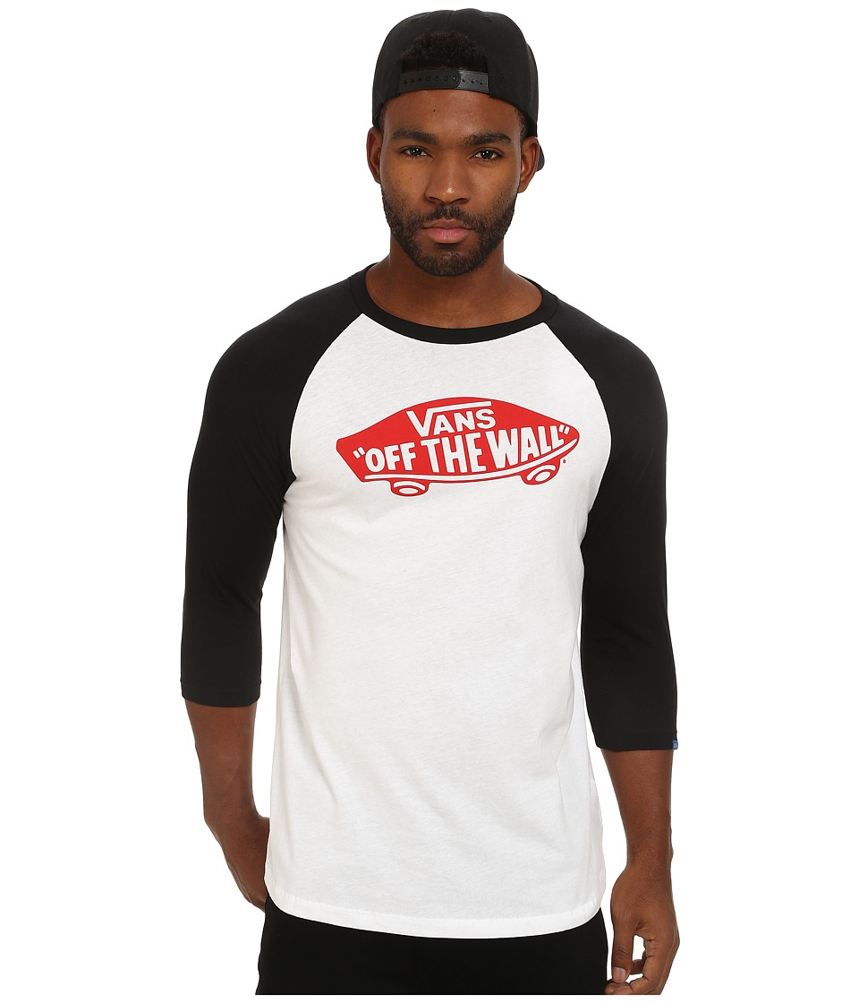 Vans - OTW Raglan (White/Black 1) Men's Long Sleeve Pullover