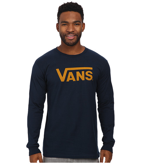 Vans - Classic Long Sleeve (Navy/Mineral Yellow) Men's T Shirt