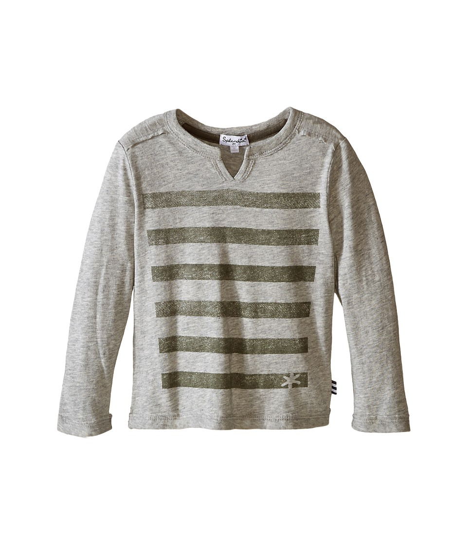 Splendid Littles - Long Sleeve Slit Print Top (Toddler) (Grey Heather) Boy's T Shirt