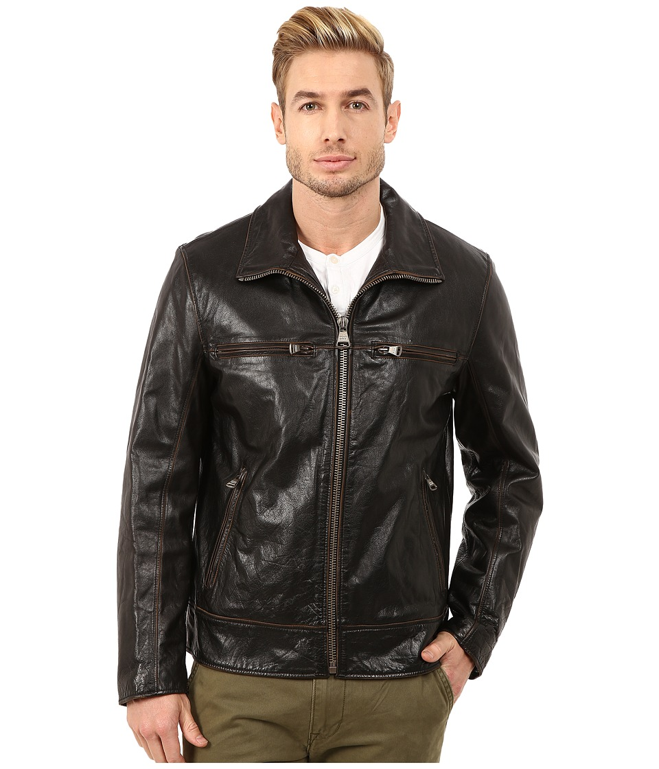 Marc New York by Andrew Marc - Waverly Distressed Buffalo Trucker Jacket w/ Chest Zipper Pockets (Black) Men
