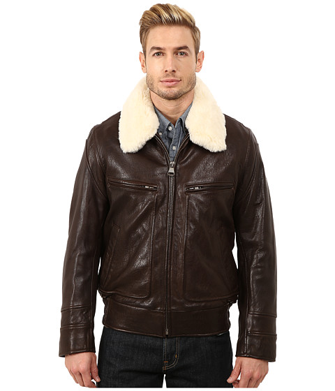 Marc New York by Andrew Marc - Carmine Rugged Lamb Aviator Bomber w/ Removable Faux Shearling Collar (Brown) Men