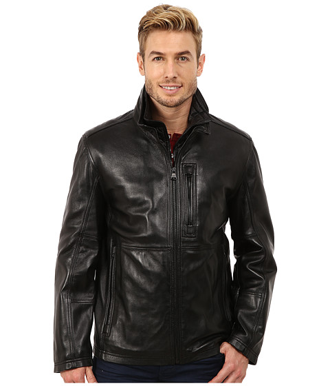 Marc New York by Andrew Marc - Mercer Smooth Lamb Stand Collar Open Bottom Jacket w/ Removable Quilted Bib (Black) Men