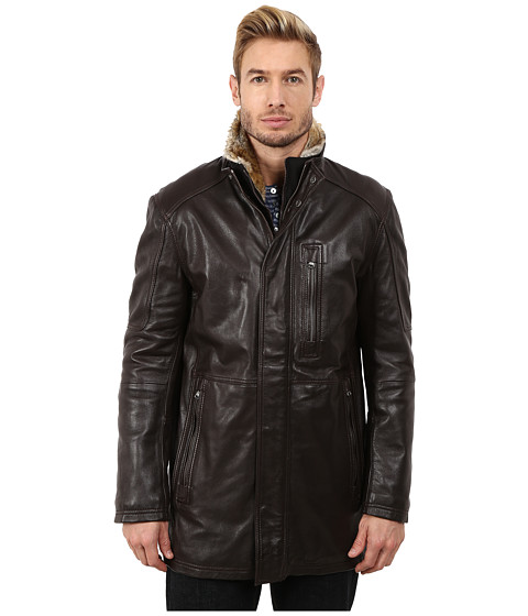 Marc New York by Andrew Marc - Stuyvesant Smooth Lamb Car Coat w/ Removable Faux Fur Trimmed Bib (Espresso) Men