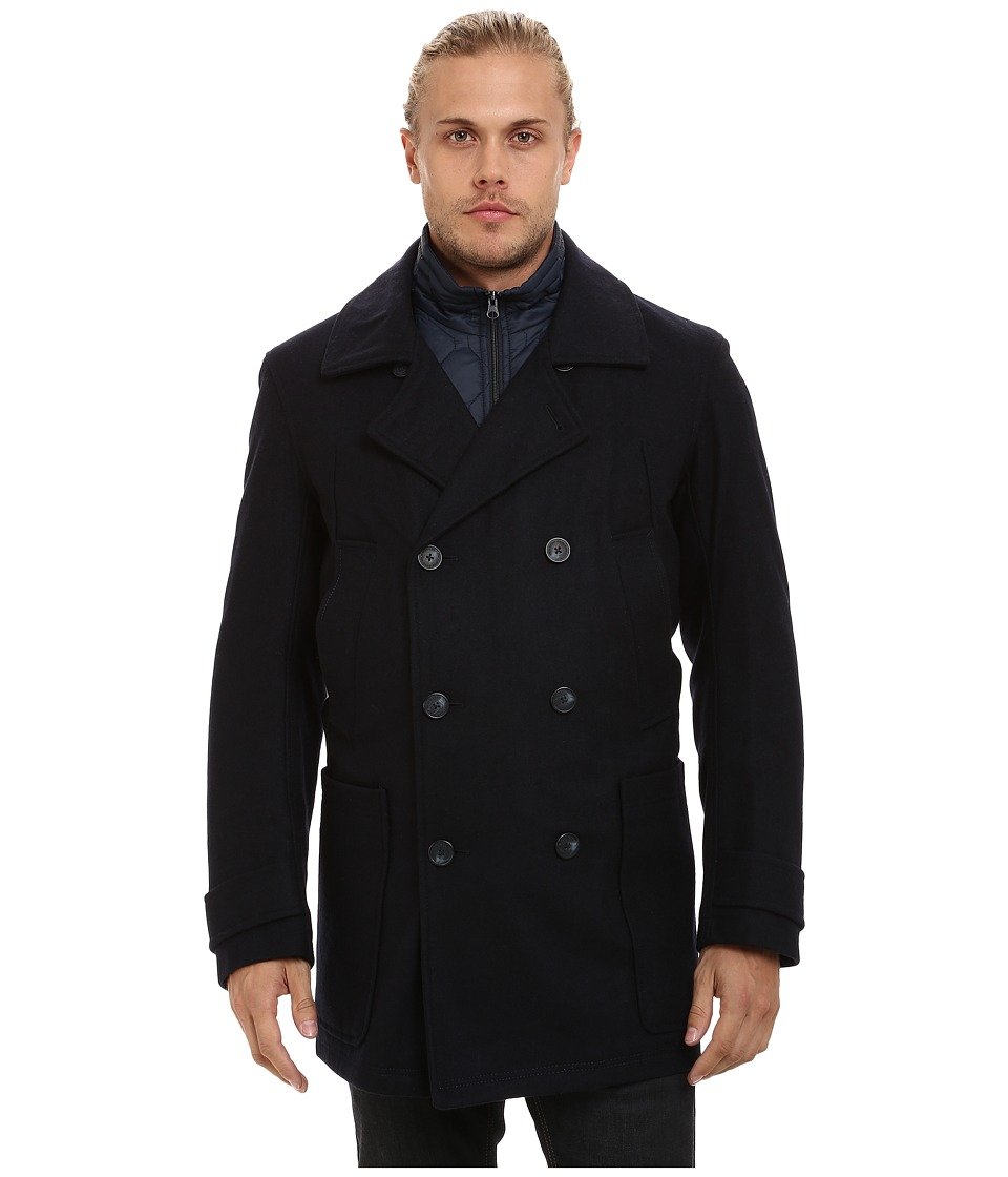 Marc New York by Andrew Marc - Mulberry Pressed Wool Peacoat w/ Removable Quilted Bib (Ink) Men's Coat