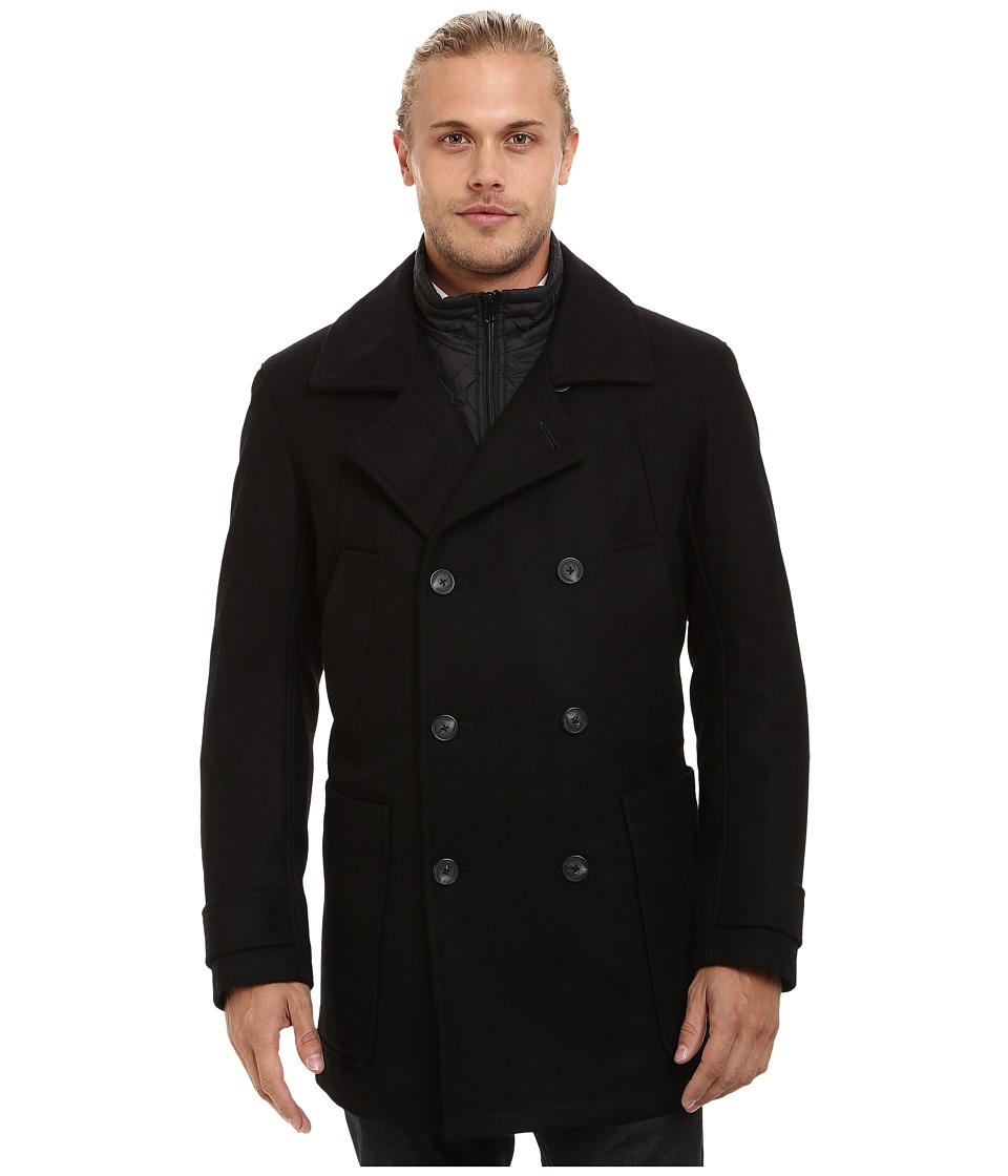Marc New York by Andrew Marc - Mulberry Pressed Wool Peacoat w/ Removable Quilted Bib (Black) Men's Coat