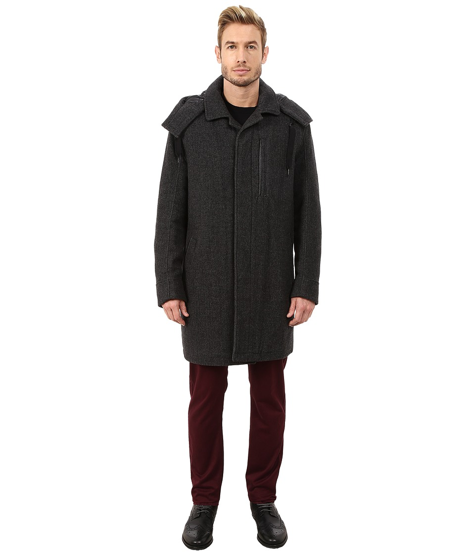 Marc New York by Andrew Marc - Boulevard Shadow Herringbone Mackintosh Jacket w/ Removable Hood (Charcoal) Men's Coat