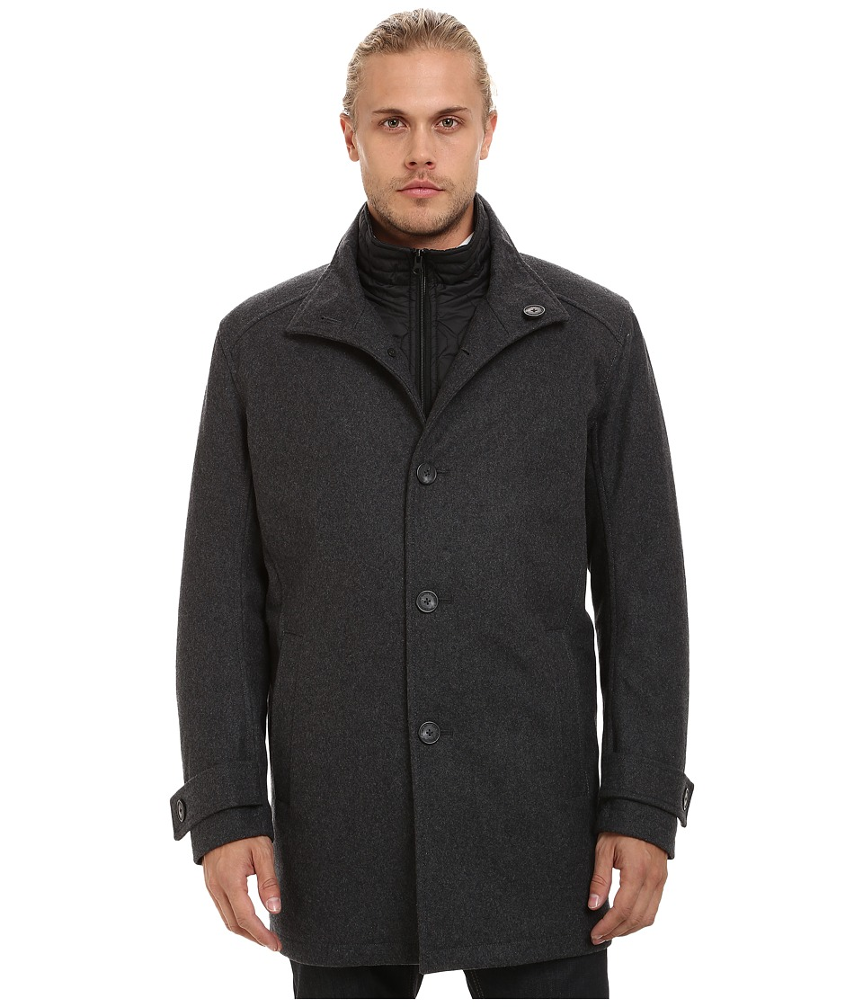 Marc New York by Andrew Marc - Morningside Pressed Wool Car Coat w/ Removable Quilted Bib (Charcoal) Men's Coat