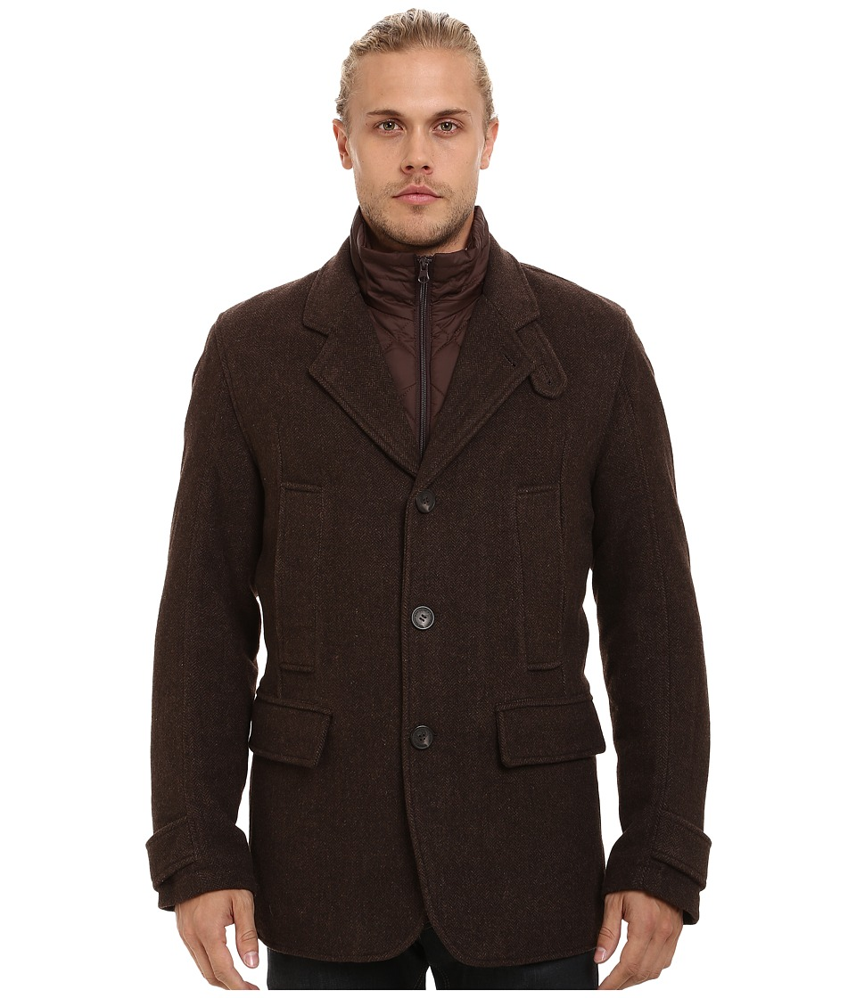 Marc New York by Andrew Marc - Albany Shadow Herringbone Blazer w/ Removable Quilted Bib (Espresso) Men's Coat