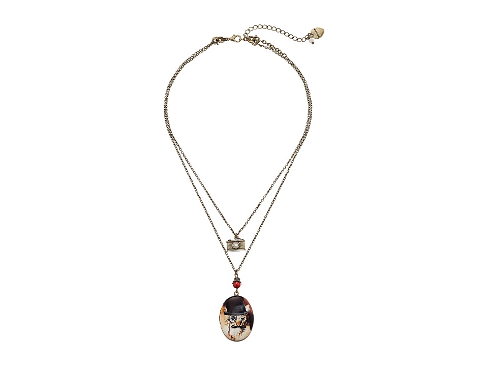 Betsey Johnson - Camera Cat Locket Necklace (Black/Brass Ox) Necklace