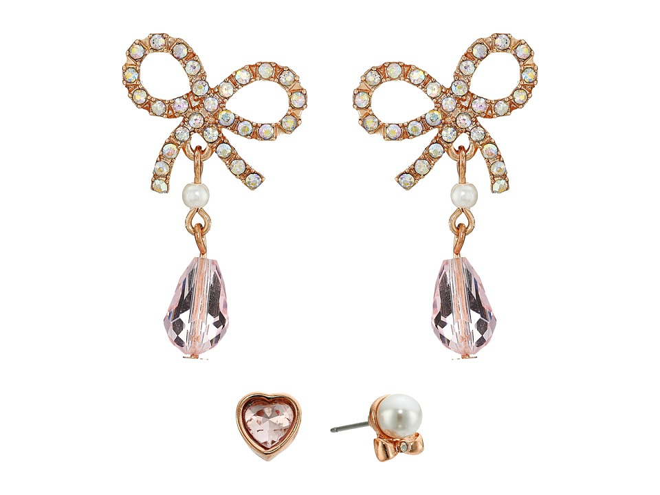 Betsey Johnson - Bow Heart Pearl Stud Earring Set (Crystal) Earring